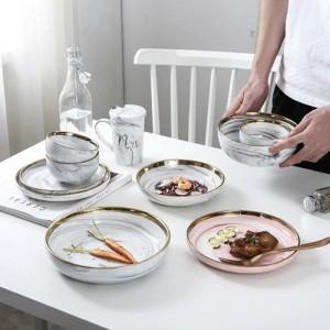 Tazón de cerámica de hueso superior Juego de cena Fideos de arroz Tazón Serie de patrones de mármol de Phnom Penh Tazón de cerámica Juego de tazón de sopa familiar