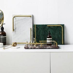 Bandeja Nordic Light Luxury Mármol Natural Bandeja de almacenamiento Inicio Rectangular Almacenamiento Panqueque Placa Sushi Plate