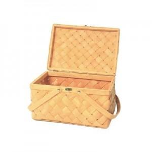 Canasta de picnic tejida con astillas de madera canasta de almacenamiento para el hogar canasta portátil