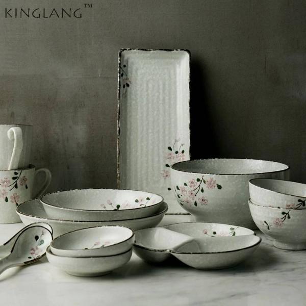 Keramikgeschirr-Sets für 2 Personen / 6 Personen Japanische Keramikschalen mit Blumenmuster Langes Porzellan-Geschirrset für große Sushi-Schalen