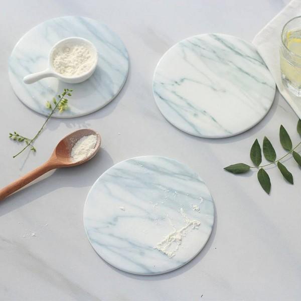 2 teile / paket Marmor Getreideuntersetzer Tasse Matten Pads Keramik Pads Home Küche Werkzeuge Desktop rutschfeste Luxus Decor Tasse Pad Durchmesser 15 cm