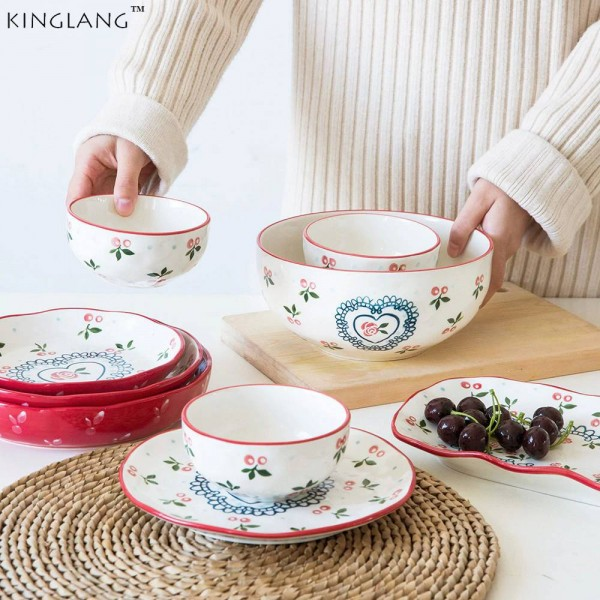 4-Personen-Geschirrset Japanische Kirsche, 10-teiliges Keramikgeschirr-Geschirrset