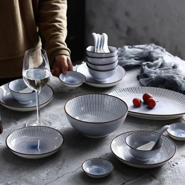 6 Personen Teller Set 22 Köpfe Japanische Linien Handbemalte Keramik Geschirr Tablett Teller Suppenschüssel Gedämpfte Reisschüssel Sets