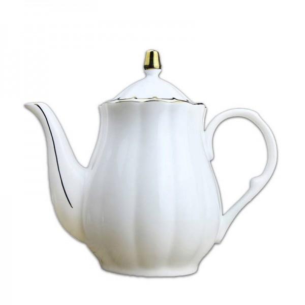 900 ml Europäischen Stil Kaffeemilchkanne Keramik Knochen Golden Rim Große Kapazität Wassertöpfe Drink Nachmittagstee Griff Wasserkocher