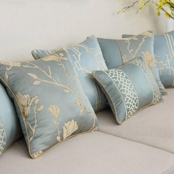 All Match Nordic Kissenbezug Elegant Blue Embroidery Texture Deko Kissenbezüge Car / Pillow Cover Housse De Coussin