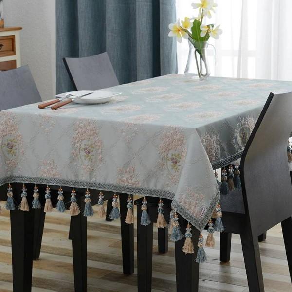 Erstaunliches Design Bestickte Tischdecke Luxus Blau Jacquard Quaste Toalha De Mesa Royal N Leinen Esstischdecken