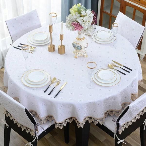 Erstaunlich Runde Tischdecke Jacquard Dot Tischdecke Luxus Decoracao Para Casa Beige Spitze Rand Toalha De Mesa Tapete Tischdecke