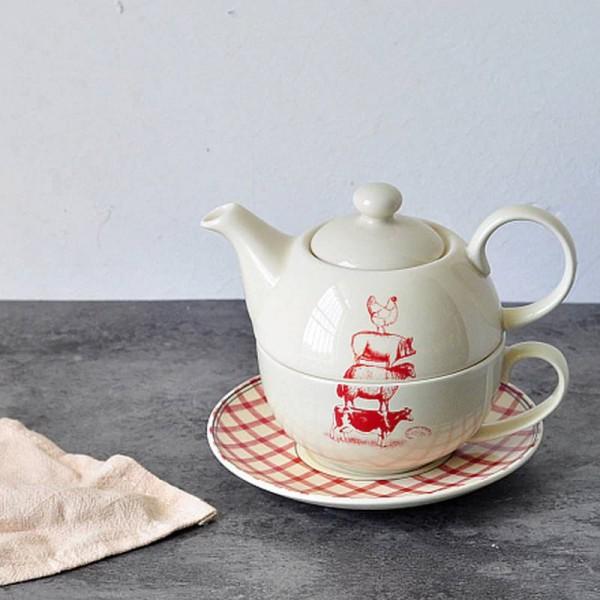 Amerikanischer Land-Art-Tierkuh-Schwein-Huhn-Huhn-Muster-keramischer doppelter Topf-Tasse und Untertassen-Nachmittag schwarzer Tee-Kaffee