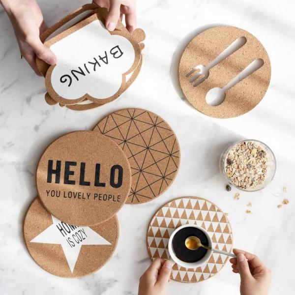Chic Elegante Weiße Sterne Holz Untersetzer Pad Kaffeetasse Matte Tee Pad Esszimmer Weiche Hölzerne Tischsets Dekoration Zubehör 1 stück