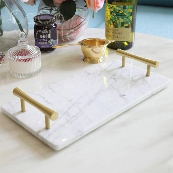 InsFashion Serviertablett aus rechteckigem Marmor mit Griff für exklusives Bäckereidekor im französischen Stil