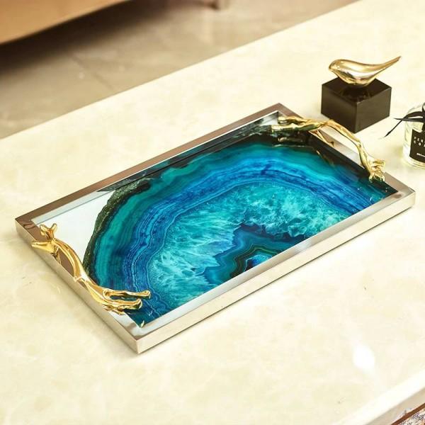 Europäisches blaues Achatsteinmuster rechteckige Behälterdekorationhauptwohnzimmer-Couchtischspeicher-Bettdekorationen