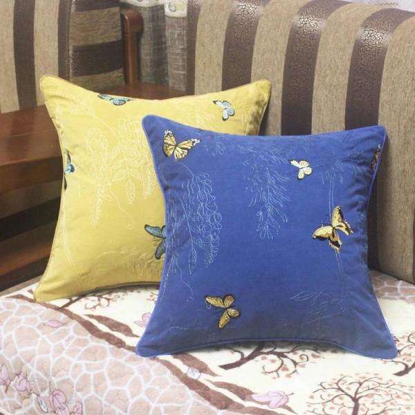 Luxus Stickerei Kissenbezug Garten Schmetterling Cojines Decorativos Para Sofa Auto / Kissenbezug Ramadan Decor Housse De Coussin