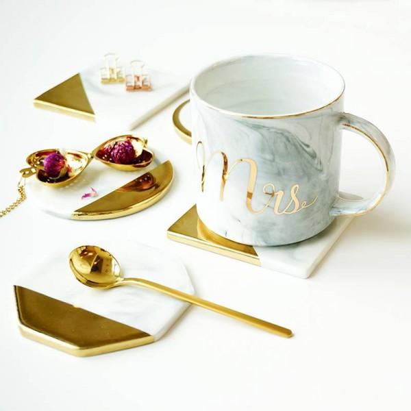 Marmorkorn Vergoldung Keramikuntersetzer Tasse Matten Pads Hauptdekorationen Küchenwerkzeuge Desktop Rutschfeste Luxus Pad Europa Stil