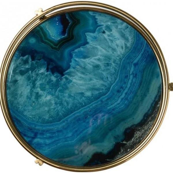 Ray Nordic Light Luxus Aufbewahrungsplatte aus vergoldetem Glas Musterraumplatte Tee-Set Chassis Blauer Achat