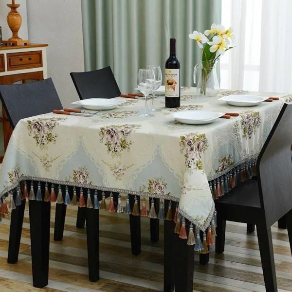 Royal Luxury Bestickte Prinzessin Tischdecken Hochzeit Tischdecke Jacquard Toalha De Mesa Quaste Modell Room Dinning Tischdecken