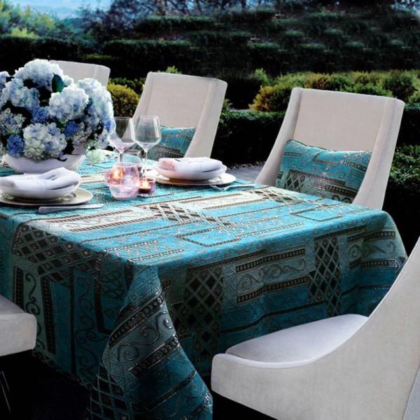 Top Classical Blue Chenille Tischdecke für Esstisch / Hotel Club Noble Life Tischdecke für Teetische Esstisch Geschenk