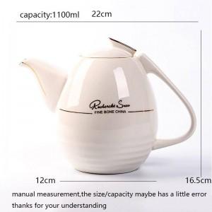 1100 ml Europäischen Stil Kaffeekanne Hitzebeständige Keramik Porzellan Filter Teekanne Drink / Nachmittagstee Milch Teekanne Wasserkocher
