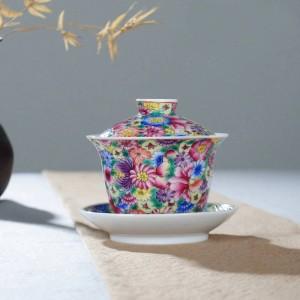 160 ml Handgemalte Exquisite Emaille Farbe Blumenmuster Gaiwan Teekanne Deckel Untertasse Kit Home Drink für Hochzeitsgeschenk