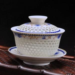 175 ml Keramik Porzellan Hohl Gaiwan Tee Vintage Cha Schalen Hause Kung Fu Tee-Set Teekanne Teekanne Drink Geschenke