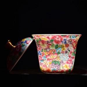 175ml Handgemalte Emaille Farbe Gaiwan Keramik Porzellan Drinkware Büro Kung Fu Tee-Set Teeschale mit Deckel Kit Geschenke