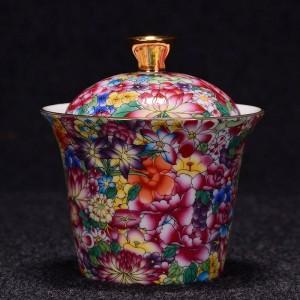 175ml Handgemalte Blumenmuster Gaiwan Office Vintage Drink Master Teeschale mit Deckel Kit Teekanne Wasserkocher Geschenke