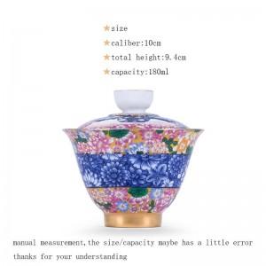 180 ml Porzellan Silber Gaiwan Büro Teezeremonie Meister Cha Schalen Deckel Untertasse Handgemalte Emaille Muster Drink
