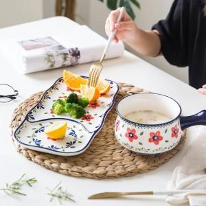 1 Schüssel 1 Teller Ein-Personen-Geschirr Keramik Geschirr im europäischen Stil handbemalt Frühstück Essen Keramik Anzug