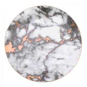 1 STÜCKE Geschirr Marmorplatten Keramik Geschirr Gold Inlay Porzellan Dessertteller Steak Salat Snack Kuchen Platten
