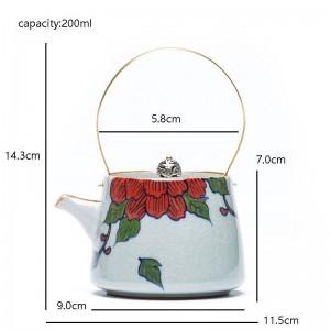200 ml Keramik Vintage rote Blumenmuster Teekanne mit Goldgriff handbemalt Kung Fu Tee Wasserkocher Familie Geschenke