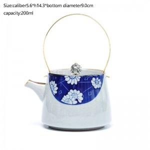 200ML Vintage Keramik Blau und Weiß Porzellan Blau Unter Glasierte Teekanne Mit Goldgriff Eisriss Textur Teekessel