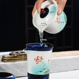 220 / 250ml Stil Teekanne handbemalt Lotus Muster Keramik Porzellan Tee Wasserkocher Kaffee Milch Griff Topf Vintage Drink