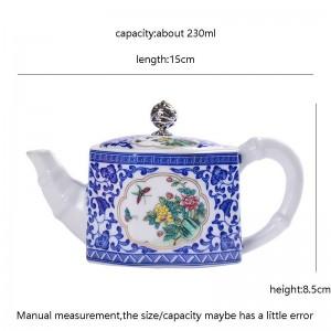 230 ml Keramik Porzellan Handgriff Teekanne Handgemaltes Muster Kugellöcher Kung Fu Teekessel Haushalt Drink Geschenke
