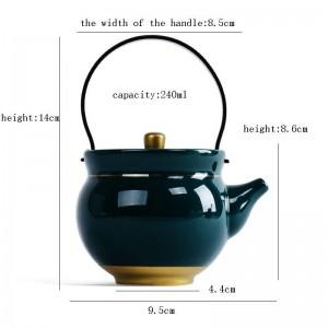 240 ML Dunkelgrün Keramik Porzellan Teekanne Gold Grenze Pu'er Topf Kung Fu Tee-Set Handgriff Wasserkocher Kein Kochen