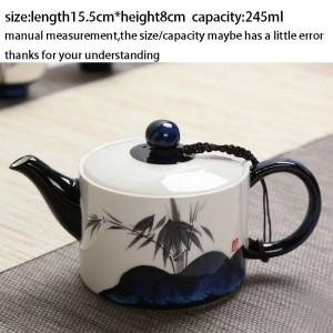 245 ml Kreative Teekanne Handgemalte Lotus Muster Keramik Porzellan Vintage Griff Teekanne Wasserkocher Teezeremonie Drink für Geschenk