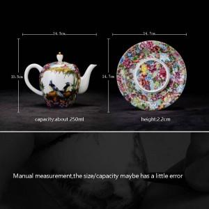 250 ml Vintage Stil Handgemalte Blumenmuster Teekanne Puer Oolong Tee Wasserkocher Home Drink Handgriff Topf Tablett Senden Freunde Geschenk