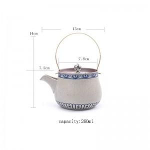 260 ML Vintage Muster Keramik Keramik Teekanne Hause Kung Fu Tee-Set Kreative Kupfer Handgriff Topf Kaffee Milchkessel