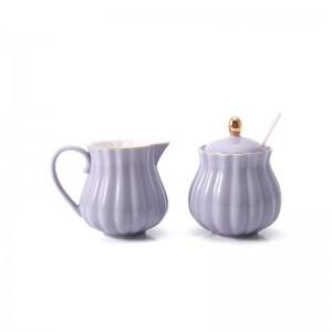 2 Teile / los 200 ml Kurze Keramik Porzellan Griff Milchtopf mit Zuckerglas Kit Büro Garten Nachmittagstee Teekanne Hause Drink Geschenk