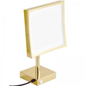 3-fache Vergrößerung Quadratischer Schminkspiegel aus Gold, stehend auf einem Schminktisch Kosmetikspiegel mit 3 Lichtern (natürlich / kühl / warm)