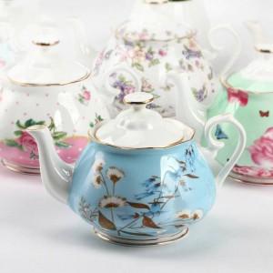570 ml Pastorale Kaffeekanne Keramik Knochen Umriss In Gold Blumenmuster Drink Nachmittagstee Töpfe Milch Saft Wasserkocher