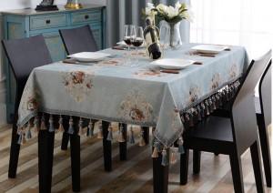 Nostalgisch bestickte Tischdecke Luxus Jacquard Massiv Tischdecke Quaste Toalha De Mesa Royal Leinen Esstischdecken