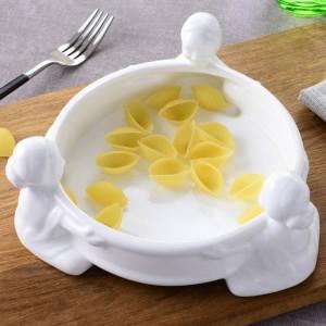 6/8/10 zoll Keramik Suppenschüssel Geschirr Runde Obstteller Dessertschale Süßigkeiten Tablett Einfache und Kreative Salatschüssel
