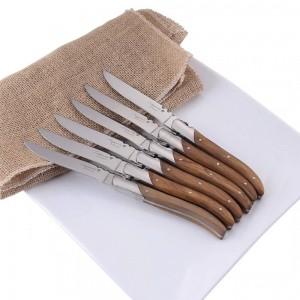 """6/8 / 10pcs Laguiole Art-Steakmesser Olivenholz-Griff-Edelstahl-Abendessen-Messer 8,25 """"Tischmesser-Restaurant-Essgeschirr"""