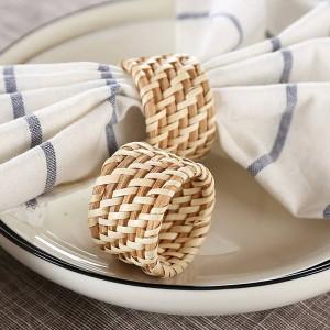 6 teile / satz Solide gehobene hotel restaurant serviette faltende blume tuch mund, und handgemachte rattan serviettenring