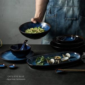 7 köpfe oder 14 köpfe oder 32 köpfe tiefblauen keramik geschirr geschirr teller schüssel tasse soße teller porzellan geschirr
