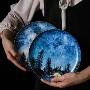 8 zoll sterne knochen frühstück teller geschenk gericht geschirr dekoration handgemachte keramikplatte kuchen gebäck obst kuchen teller