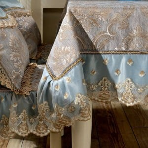 Erstaunliches Design Jacquard Tischdecke Blau / Gelb Spitze Luxus Festival Hochzeit Modern Room Decor Tischdecke / Custom Table Cover