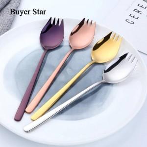4-teiliger bunter Spork mit langem Griff und spiegelpolierter Schüssel aus Edelstahl 304, Vorspeise, Dessertlöffel, Salatgabel