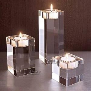 Candlestick Kristallglas Mousse Quadrat massivem Kristall Hauptdekoration Geschenk Hochzeitsdekoration romantisch