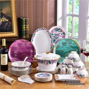 Keramik Geschirr Set Knochen Mode Originalität Buntes Design 58pcs Geschirr Sets Striped Dinner Set Einweihungsparty