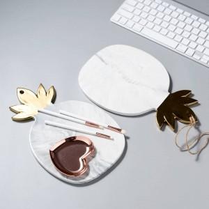 Keramikplatte Marmor Textur Ananas Blattgold Teller Platten Käsebrett Schneidebrett